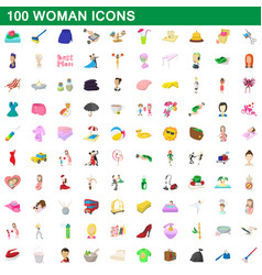 100 woman icons set cartoon style vector image vector image