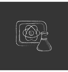 Atom sign drawn on board and flask drawn in chalk vector