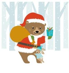 Bear Santa vector image vector image