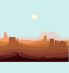 Western desert landscape background vector