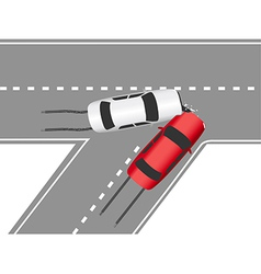 Auto traffic collision road cars vector image vector image