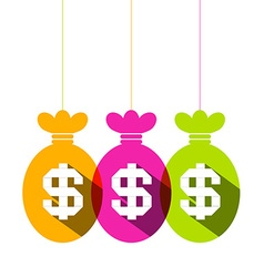 Dollar Sign in Colorful Bags Set - Flat Design vector image vector image
