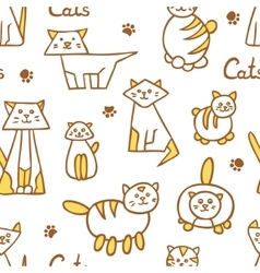 Seamless pattern with hand drawn cats on white vector image vector image