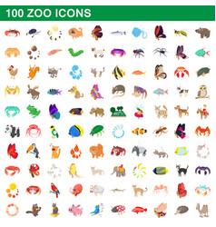 100 zoo icons set cartoon style vector image