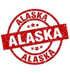 alaska red round grunge stamp vector image vector image