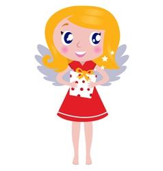 christmas cartoon angel girl with gift vector image vector image