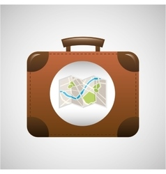 concept travel suitcase vintage and map design vector image vector image
