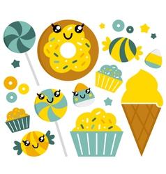 Cute sweet cartoon candy set vector image vector image