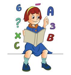 girl studying math vector image vector image