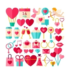 Happy Valentines Day Objects Set vector image
