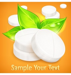 Pills natural on yellow vector