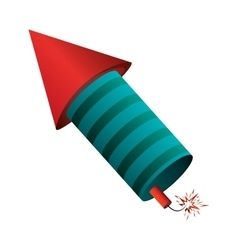 rocket fireworks fire light pyrotechnics vector image