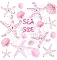 Seaside Seashells background vector image vector image