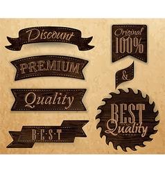 Wooden ribbon vector image vector image
