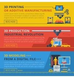 3D Printing Flat Horizontal Banners Set vector image