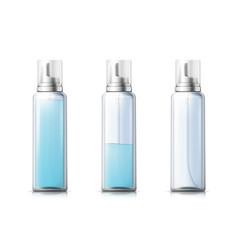 3d realistic mousse bottle with liquid gel vector