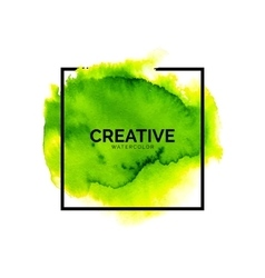 Abstract green watercolor background with square vector image