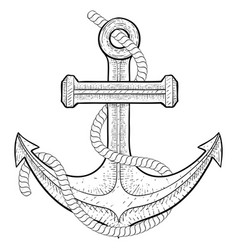 Anchor with rope hand drawing vector
