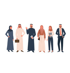 Arab people set happy saudi woman man in modern vector