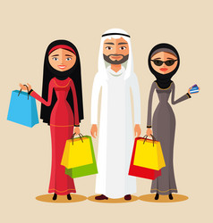 arabic couple holding gifts and shopping bags vector image