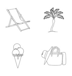 Beach palm tree ice creamsummer vacation set vector