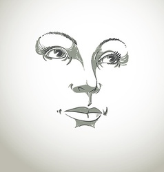 Black and white of lady face delicate visage featu vector
