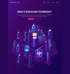 blockchain technology isometric landing page vector image
