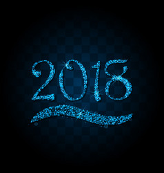 blue particles wave in form of 2018 vector image vector image