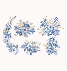 Blue vintage winter bouquets vector