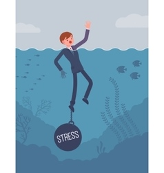Businessman drowning chained with a weight Stress vector image vector image