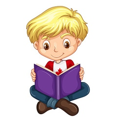 Canadian boy reading a book vector image