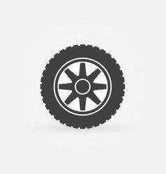 car wheel simple icon - car service sign vector image