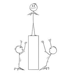 Cartoon two men or businessmen worshiping man vector