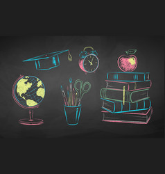 chalk education items vector image
