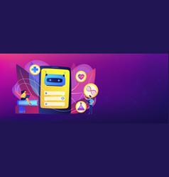 Chatbot in healthcare concept banner header vector