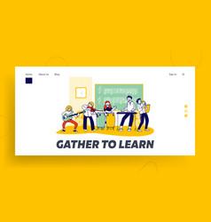 Children in music school website landing page vector