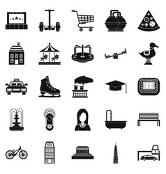 city hobby icons set simple style vector image vector image