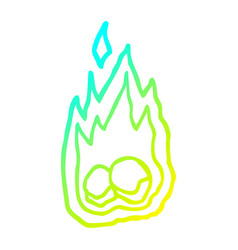 Cold gradient line drawing cartoon spooky burning vector