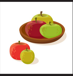 collection of different red and green apples vector image