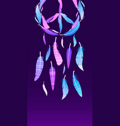 Colorful neon dream catcher with pacific sign vector