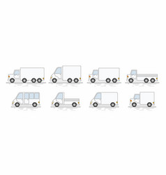 Commercial van icons set vector