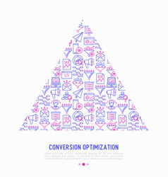 conversion optimization concept in triangle vector image