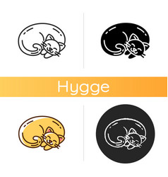 Curled up cat icon vector