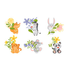 Cute animals holding flower on stalk vector