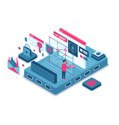 Cyber security isometric vector