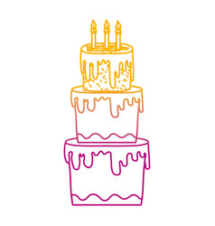Degraded line big cake with three floors style vector