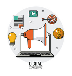 digital marketing laptop loudspeaker multimedia vector image