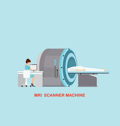 Doctor scanning mri patient with mri scanner vector