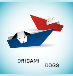Dogs in boats origami vector