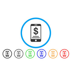 Dollar mobile wallet rounded icon vector